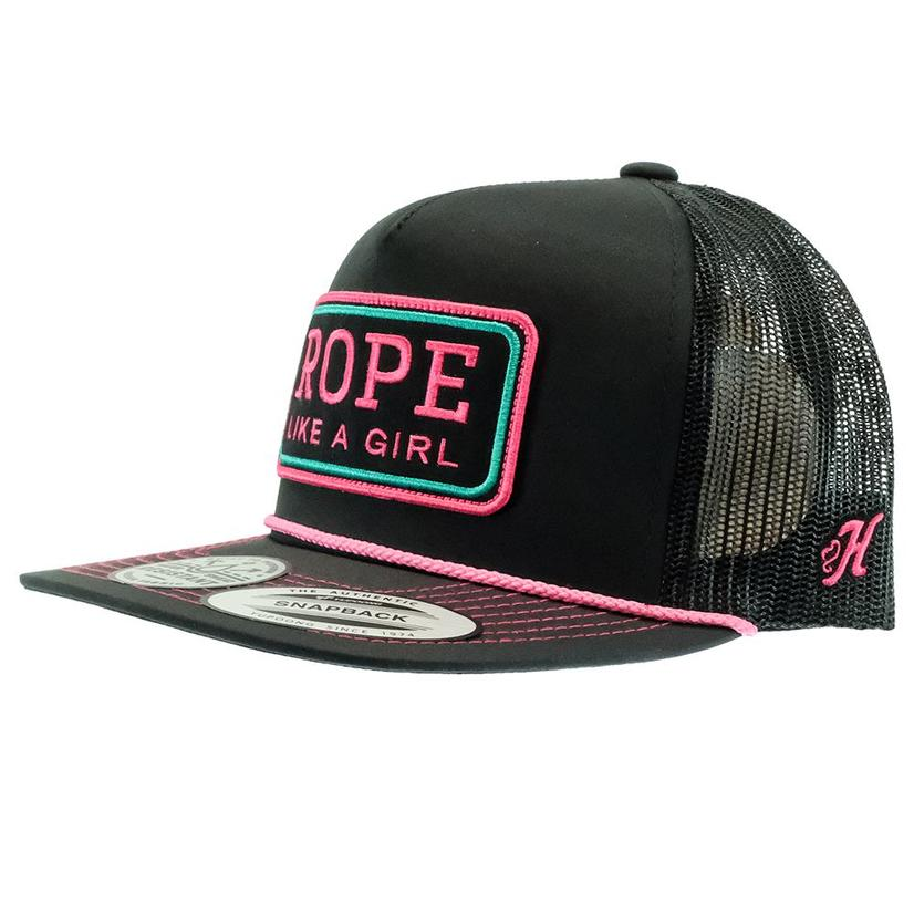 Hooey Rope Like A Girl Black With Hot Pink Patch Meshback Cap