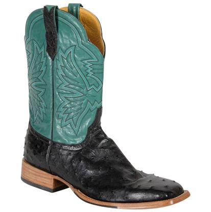 Cinch Men's Black Full Quill Ostrich Turquoise Vesuvio Goat Cowboy Boots