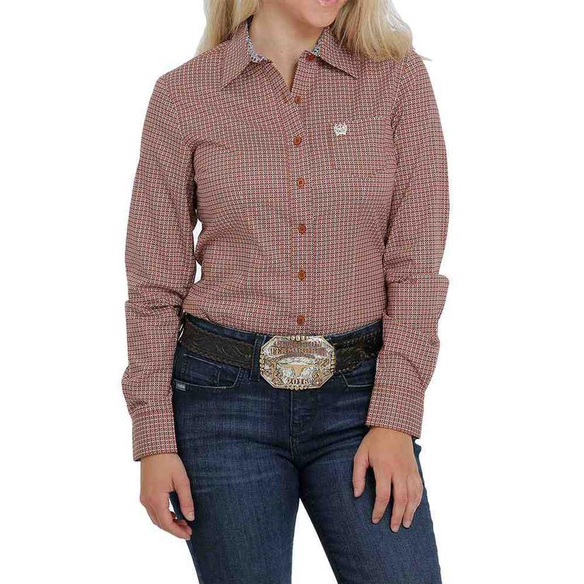 Cinch Copper Print Long Sleeve Buttondown Women's Shirt