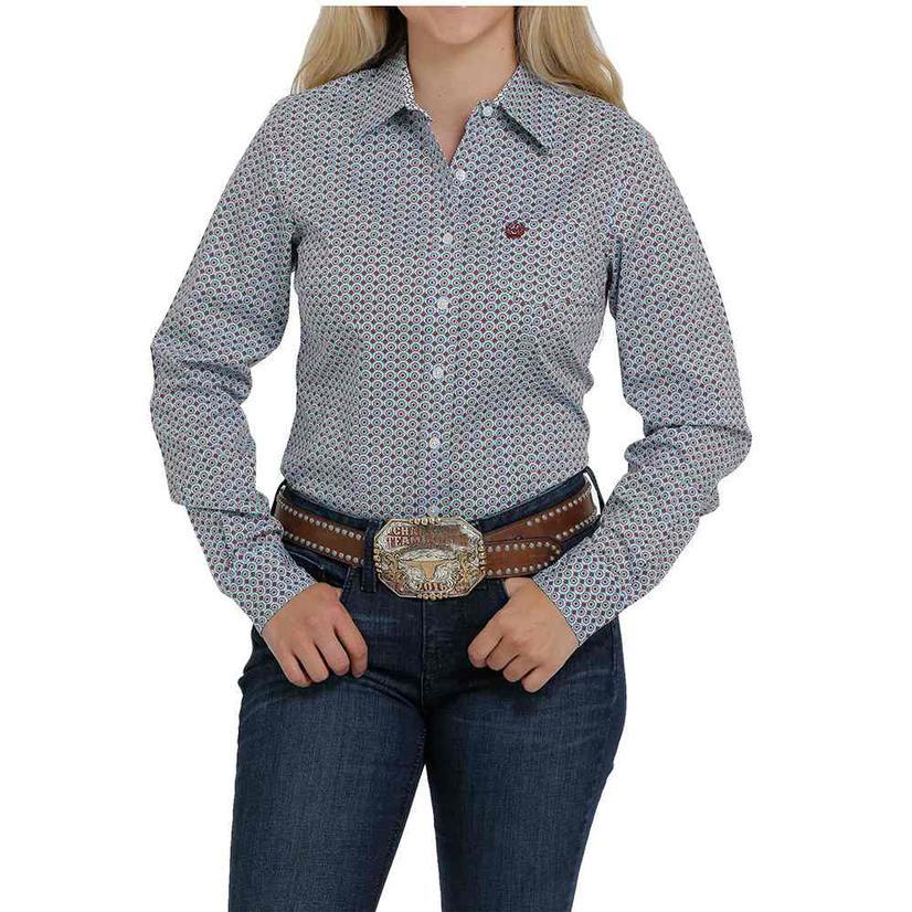 Cinch Light Blue And Copper Print Stretch Long Sleeve Buttondown Women's Shirt