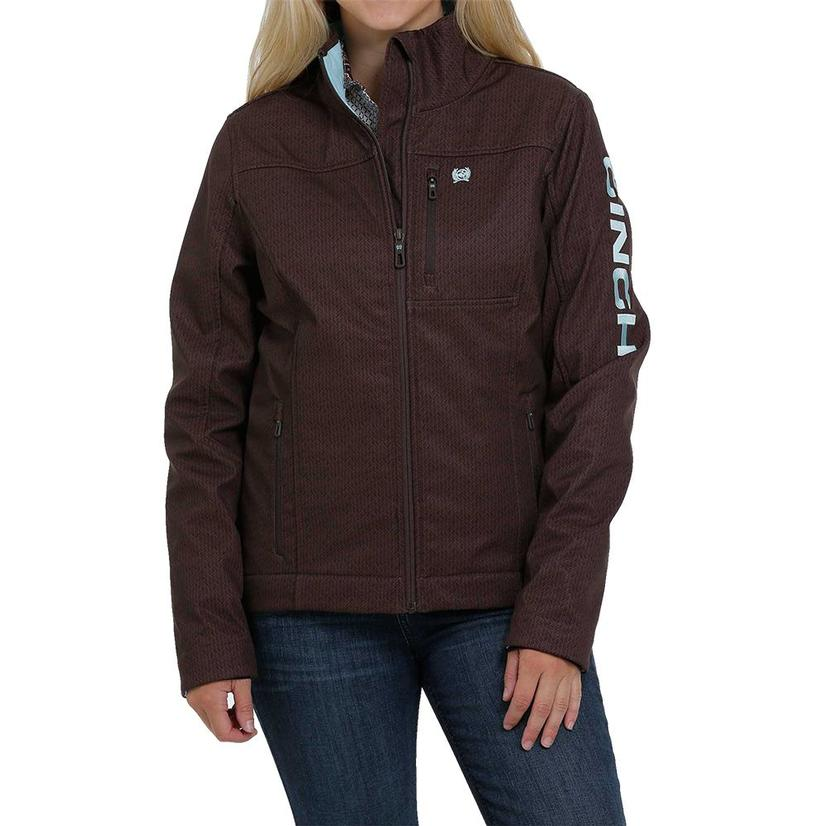 Cinch Brown And Mint Printed Bonded Women's Jacket