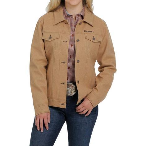 Cinch Khaki Poly Wool Women's Trucker Jacket