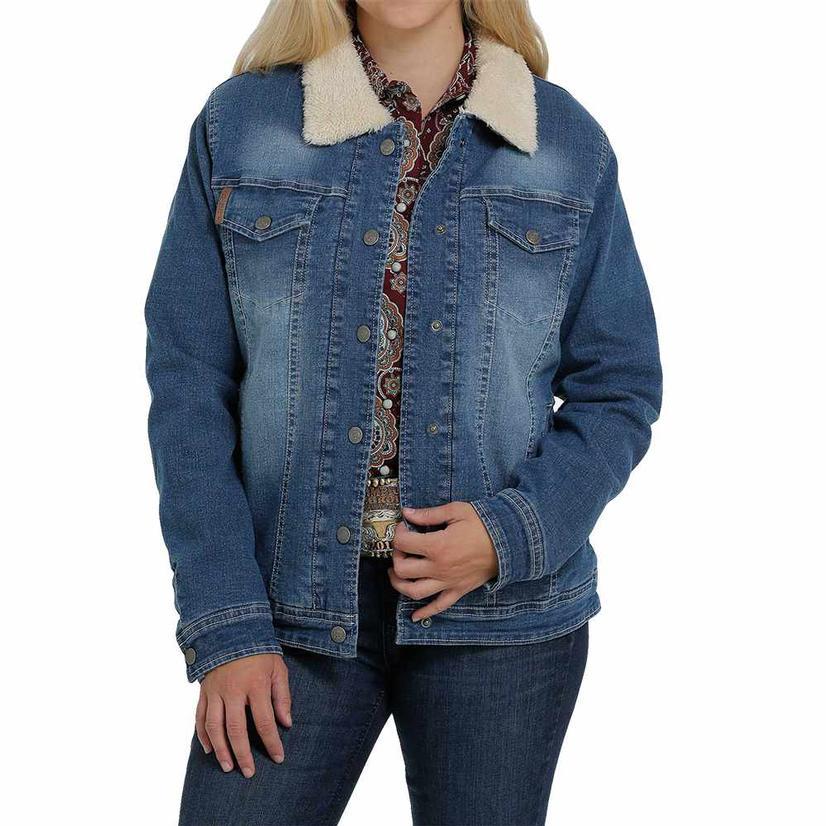 Cinch Denim Sherpa Button Up Women's Jacket