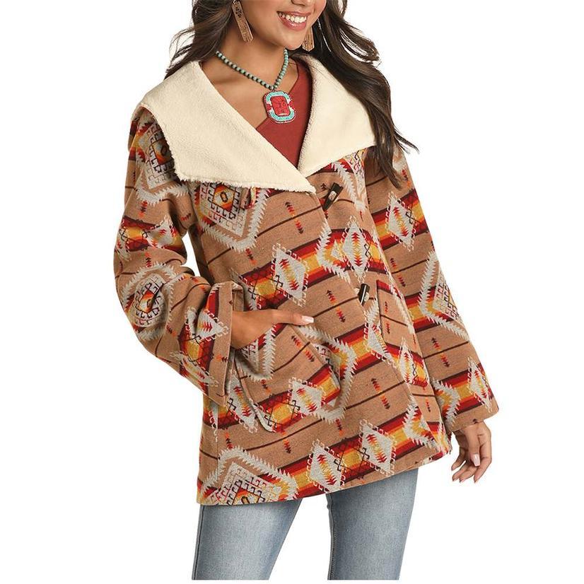 Powder River Tan Aztec Print Wool Cape Coat