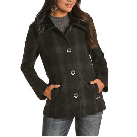 Powder River Charcoal Black Plaid Wool Fur Collar Women's Jacket