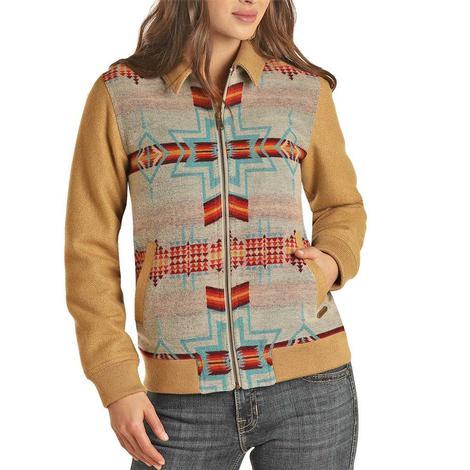 Powder River Natural Aztec Wool Bomber Women's Coat