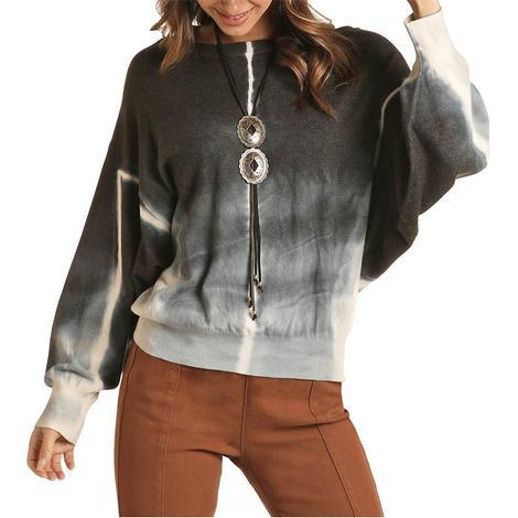 Rock and Roll Cowgirl Indigo Tie Dye Women's Sweater