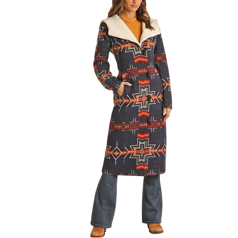 Powder River Navy Aztec Print Wool Long Women's Coat