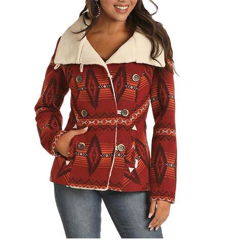 Powder River Red Aztec Print Women's Wool Coat
