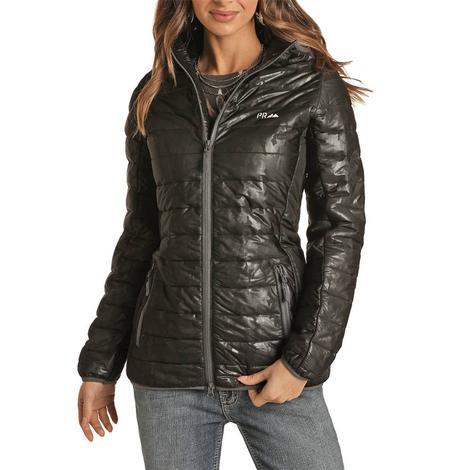 Powder River Charcoal Metallic Camo Women's Puffer Jacket