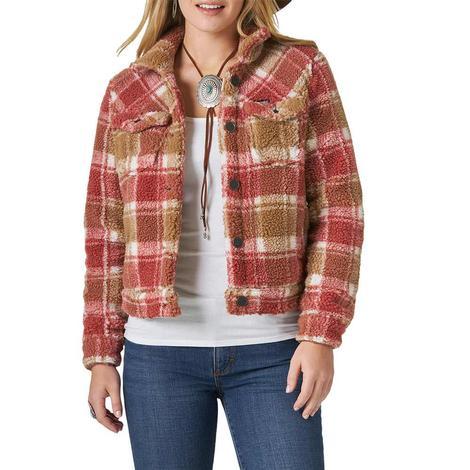 Wrangler Western Red Plaid Women's Sherpa Jacket