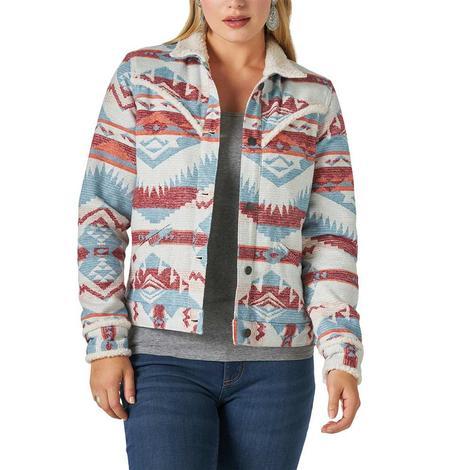 Wrangler Multi Juard Print Women's Sherpa Jacket