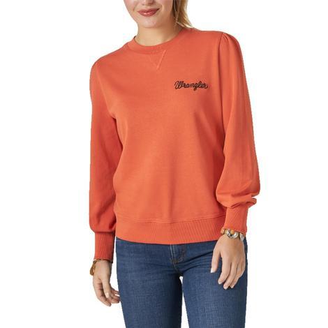 Wrangler Long Sleeve Embroidered Logo Orange Women's Pullover