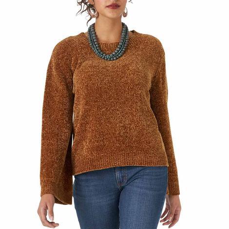 Wrangler Brown Bell Sleeve Chenille Women's Sweater