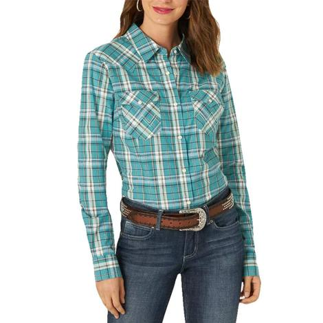 Wrangler Blue Plaid Long Sleeve Buttondown Women's Shirt