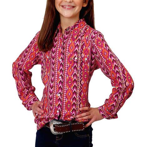 Roper Aztec Serape Pink Purple Print Girl's Long Sleeve Snap Shirt