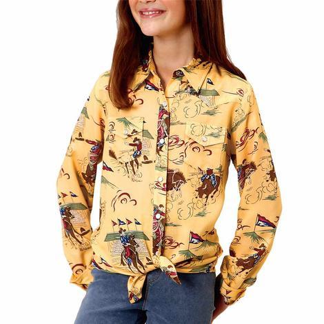 Roper Yellow Rodeo Print Snap Girl's Shirt