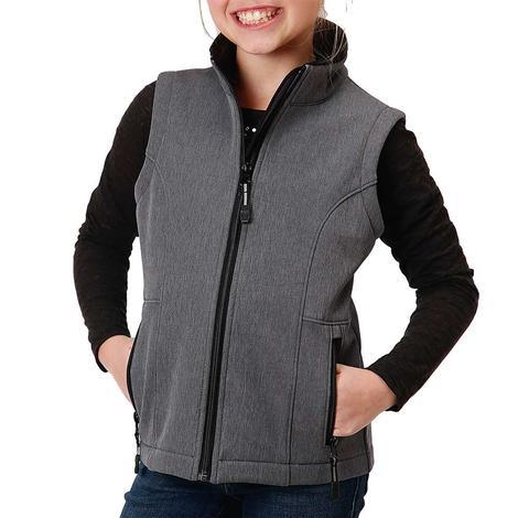 Roper Grey Tech Soft Shell Zip Up Girl's Vest
