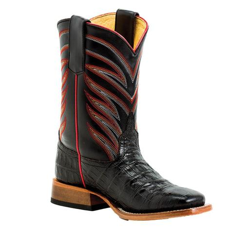 Anderson Bean Black Caiman Print Boy's Youth Boots