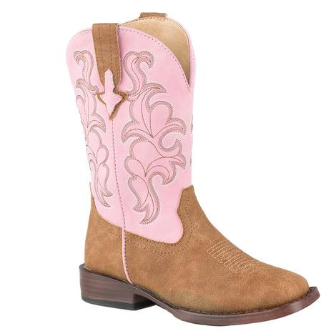 Roper Tan and Pink Girl's Kid Boots