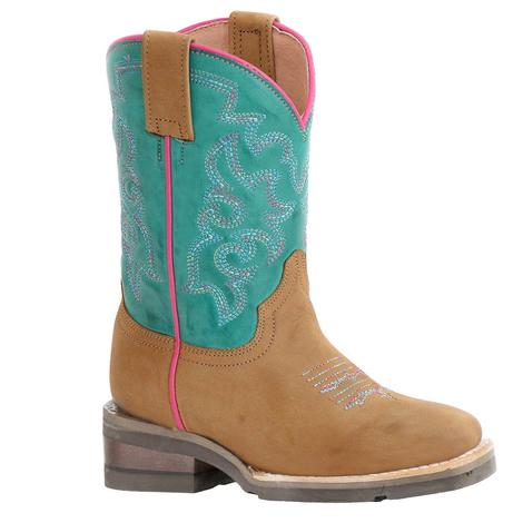 Roper Tan and Turquoise Twisty Pink Girl's Kid Boots