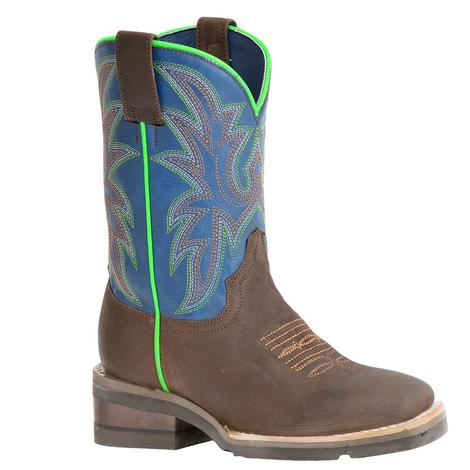 Roper Bright Blue and Brown with Neon Kid's Boots