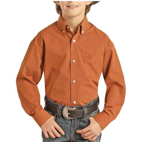 Panhandle Copper Checkered Print Long Sleeve Buttondown Boy's Shirt