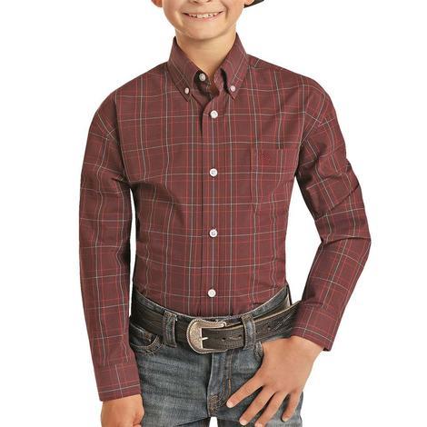 Panhandle Maroon Plaid Long Sleeve Buttondown Boy's Shirt