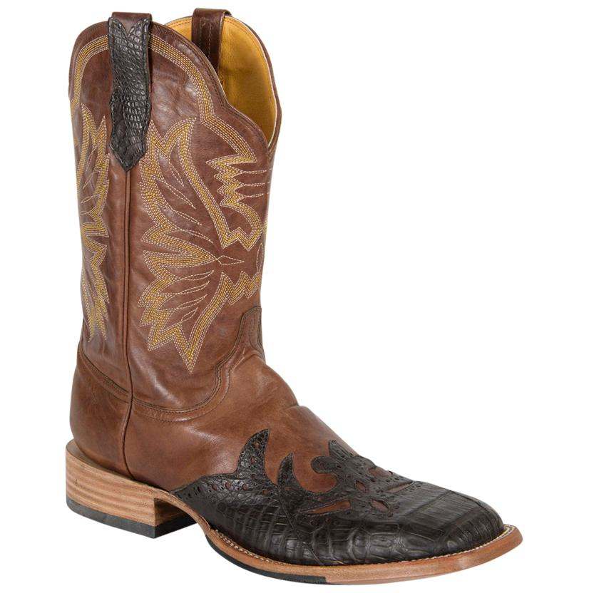 Cinch Women's Moody Brown & Gold Winged Caiman Cowgirl Boots