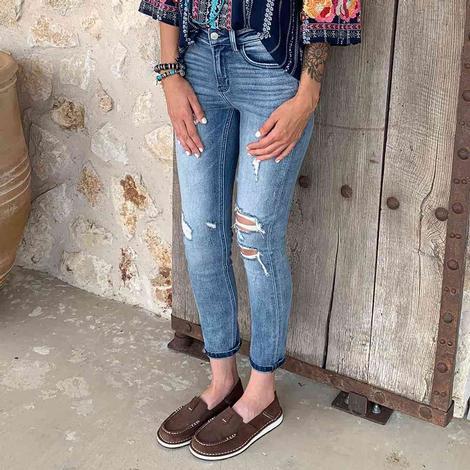 Vervet Women's Mid Rise Distressed Ankle Skinny Jean
