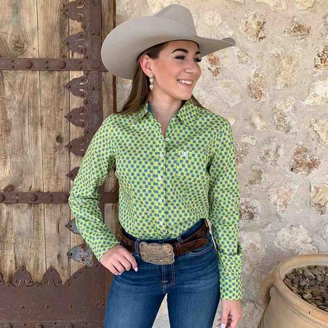 Cinch Women's Green Print Long Sleeve