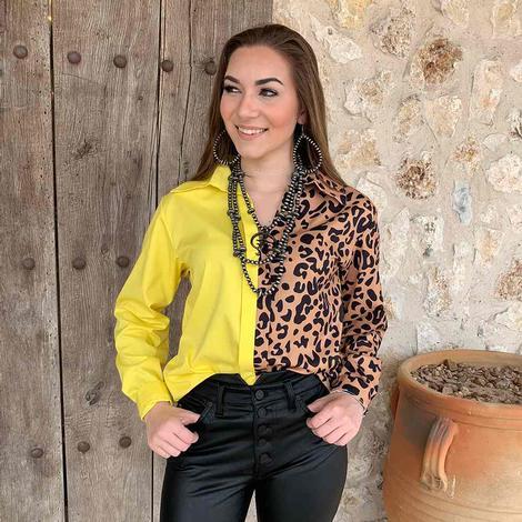 South Texas Tack Women's Yellow Cheetah Long Sleeve Blouse