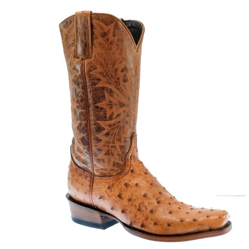 Azulado Cognac Top Full Quill Ostrich Men's Boots