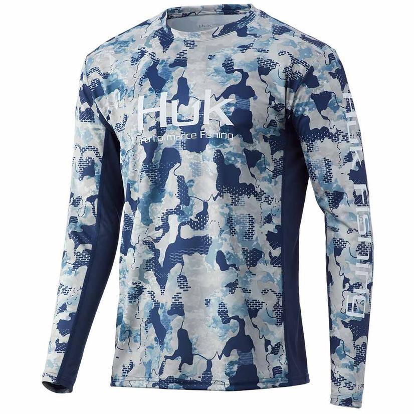 Huk Icon X Kc Refraction Camo Bluefin Men's Long Sleeve