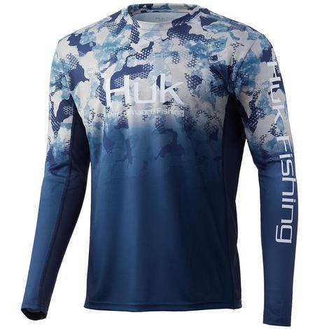 HUK Icon X Refraction Fade Bluefin Men's Long Sleeve
