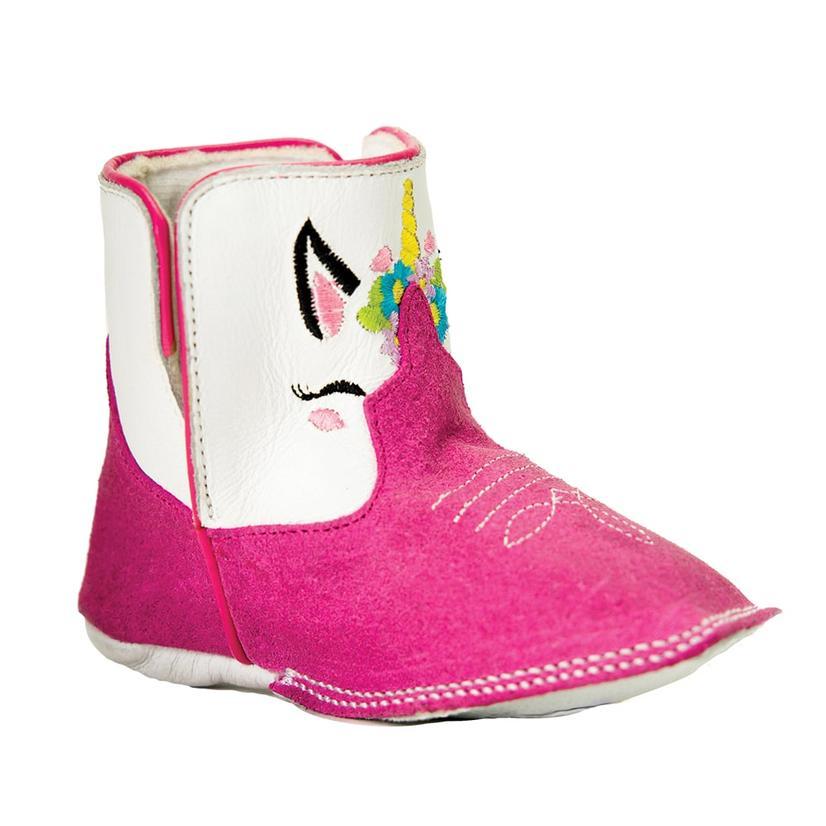 Macie Bean Pink White Unicorn Infant Boots
