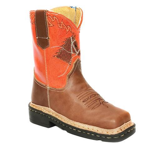 Roper Orange Horsehead Square Toe Kid Boots