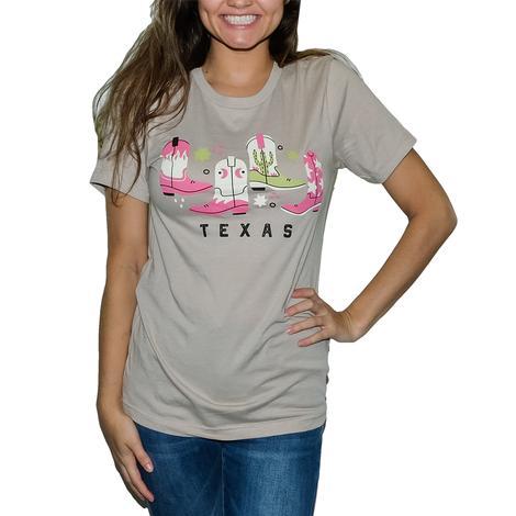 Texas Boots Tan Graphic Women's Tee