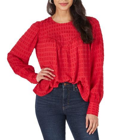 Wrangler Red Long Sleeve Women's Blouse