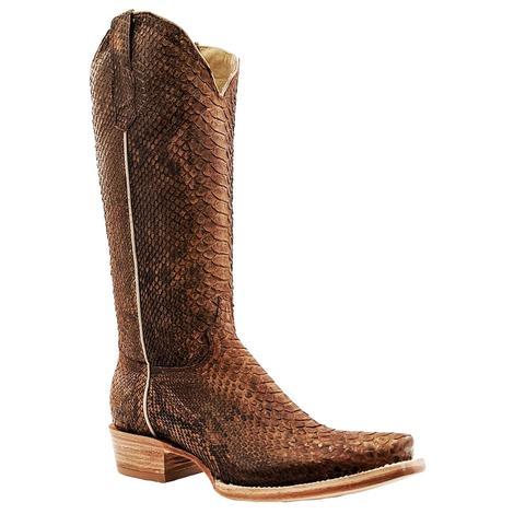 R. Watson Brown Python Cutter Toe Women's Boots