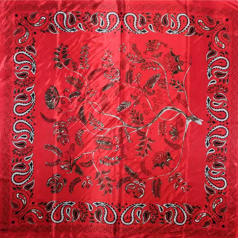 A Rare Bird Bandana Print Wild Rag - Red, Navy, Champagne RED