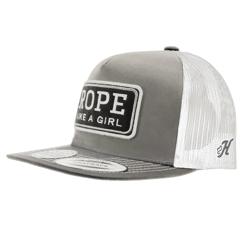 Hooey Rope Like A Girl Grey White With Black Patch Meshback Cap