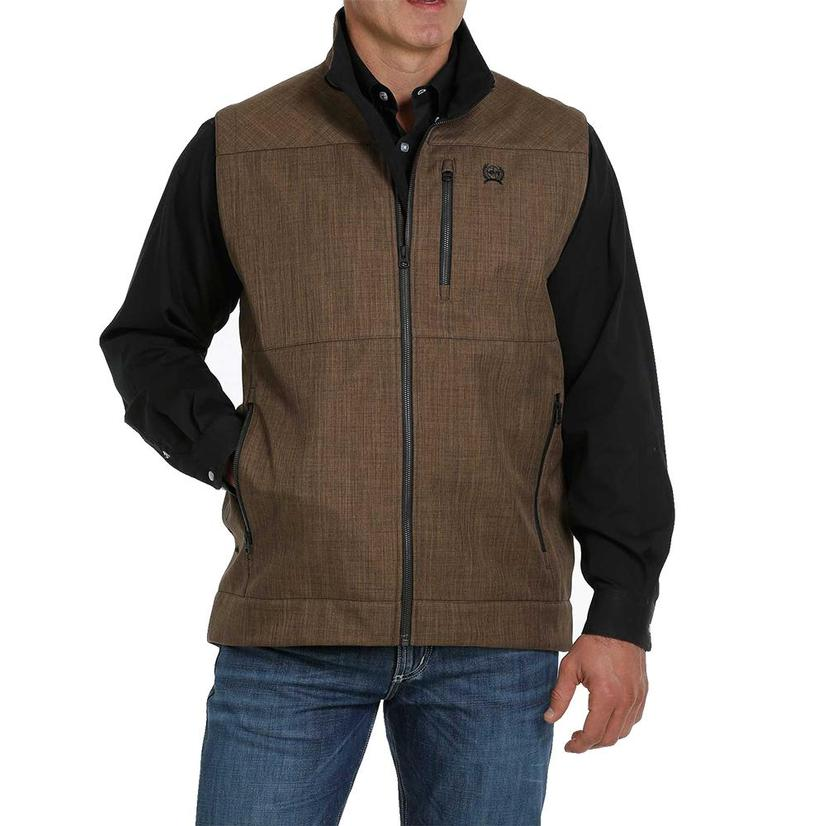 Cinch Brown Textured Concealed Carry Bonded Men's Vest
