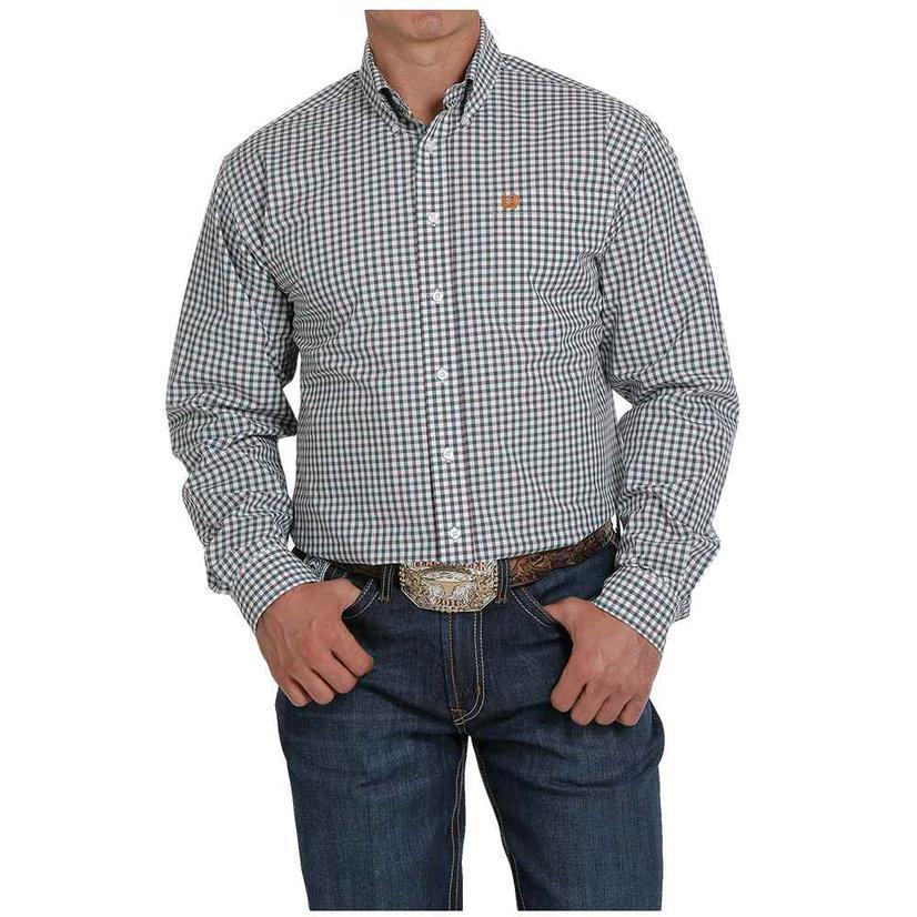 Cinch White Charcoal Checkered Long Sleeve Buttondown Men's Shirt