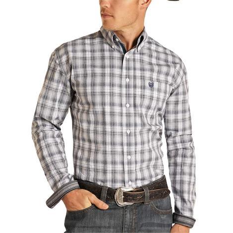 Panhandle Grey Ombre Plaid Long Sleeve Buttondown Men's Shirt