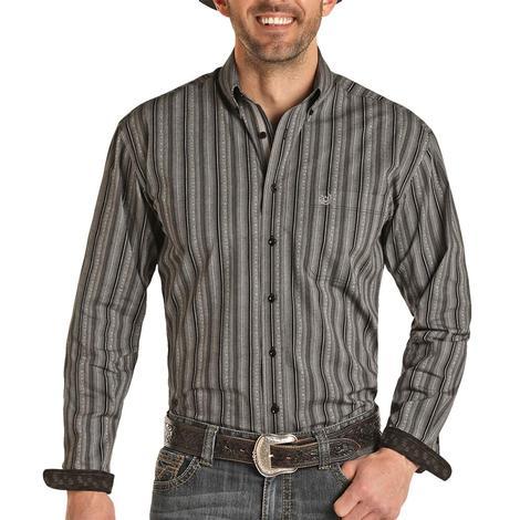 Panhandle Dark Grey and Black Striped Long Sleeve Buttondown Men's Shirt