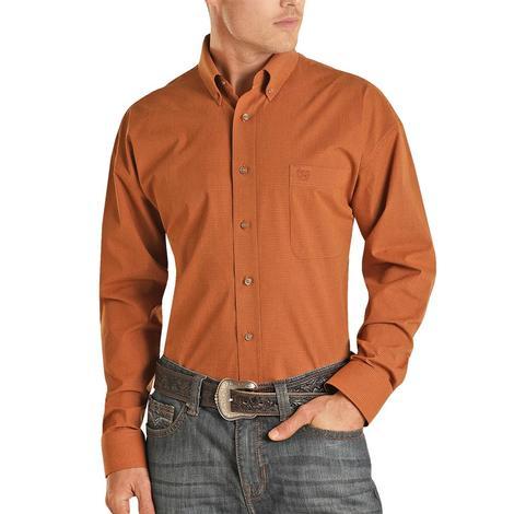 Panhandle Rust Poplin Checkered Long Sleeve Buttondown Men's Shirt