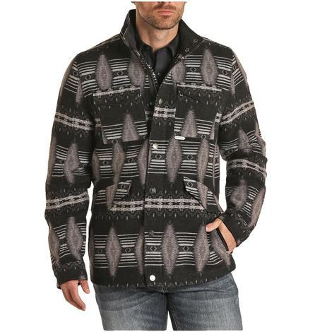 Powder River Black Aztec Jacquard Men's Wool Coat