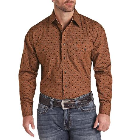 Panhandle Copper and Black Print Long Sleeve Snap Men's Shirt