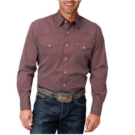 Roper Red Print Long Sleeve Snap Men's Shirt